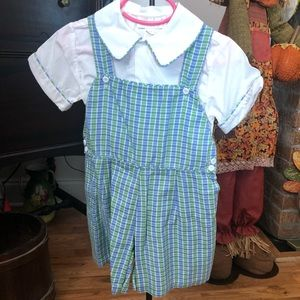 Strasburg 2 pc Toddler girls Plaid Shortall sz 2Y